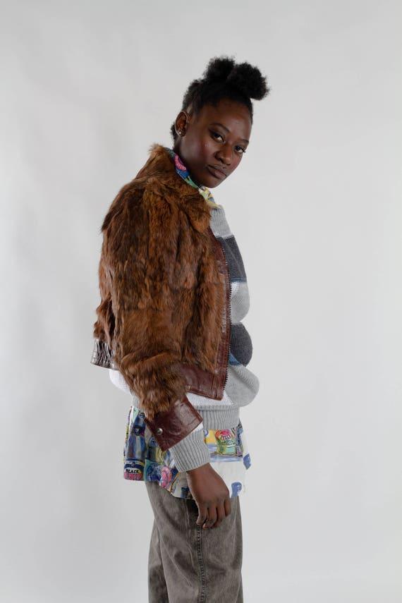 jacket fur fur jacket light fur Dark real 90s jacket Women's XS genuine short brown rabbit jacket Size Vintage fur cropped real T5aUAnxwqE