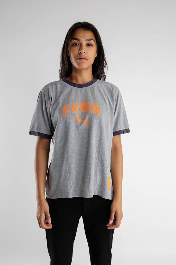 21a1c2f506f94 Vintage gray orange Puma T-shirt / 90s Puma sports tee / Vintage men's puma  T-shirt / Sportswear / Gray Puma brand logo women's tee / Size L