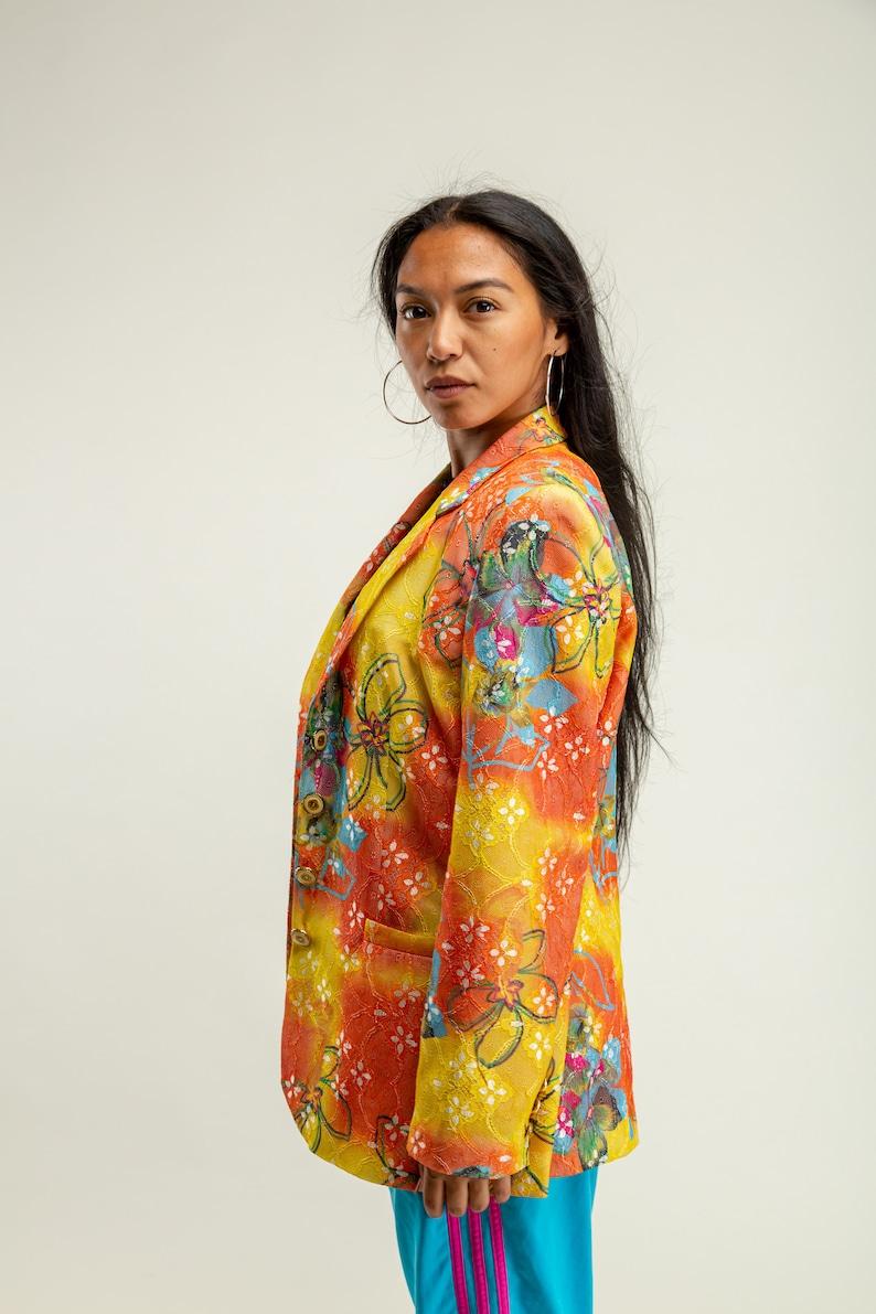 Gelbe übergroße Anzug Jacke Damen floral mehrfarbige ...