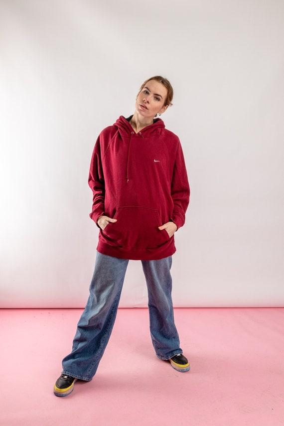 Vintage Nike sweatshirt, 90s burgundy red Nike hoo