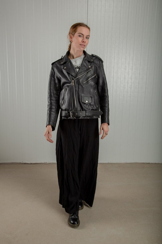 Vintage oversized biker jacket, 90s Black leather