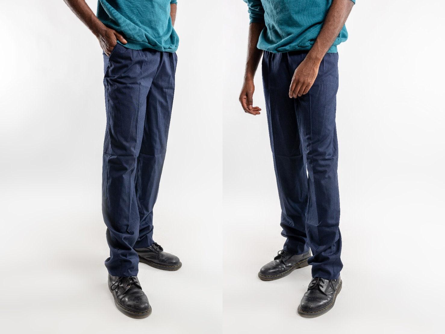 Nineties Blue Pleated Trousers Vintage Dark Blue Plain Etsy
