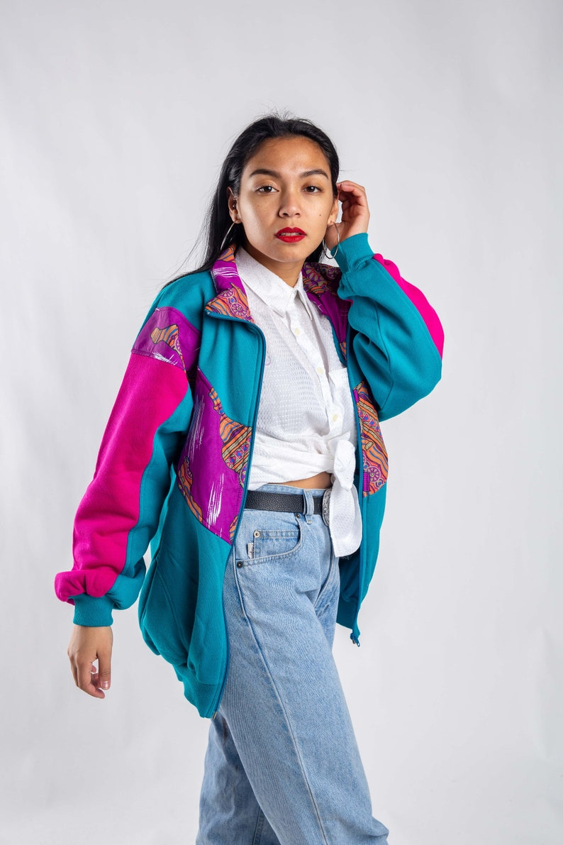 Blue purple cardigan Size M 80s retro sweater Vintage blue oversized cardigan Streetwear Women/'s color block cardigan Sportswear