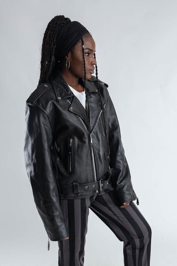 motorcycle oversized 80s jacket Size biker Black leather leather motorbike Ladies Men's leather S jacket biker jacket Vintage jacket 0dwXCx0q