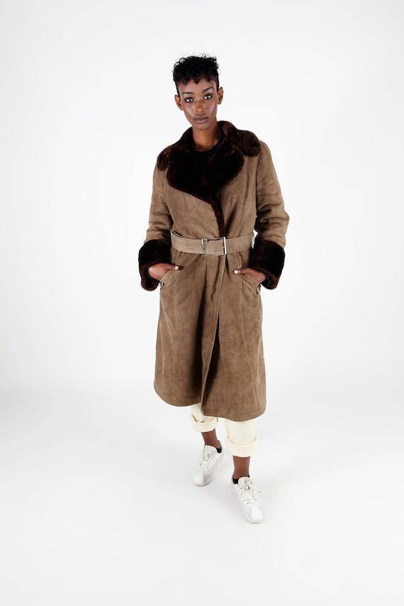 Winter M coat brown Designer lammy coat ladies sheepskin coat lammy Suede Loewe 90s coat shearling Size coat coat Vintage Dark q7wHOpq
