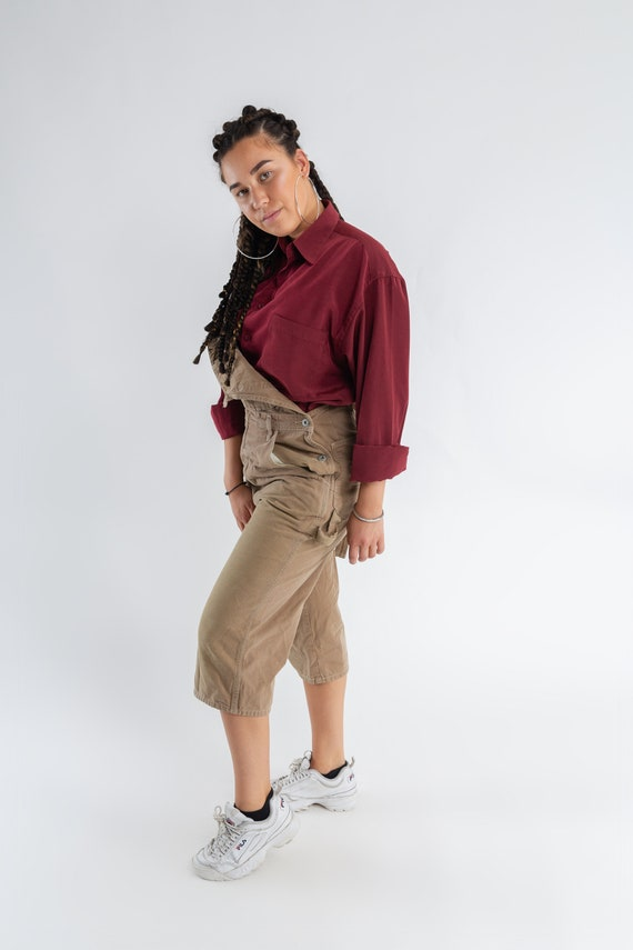 90 s kaki courte salopette Vintage terre beige salopette surdimensionnée / / surdimensionnée jambe droite femmes short salopette / Brown dames salopette / taille S adb52d