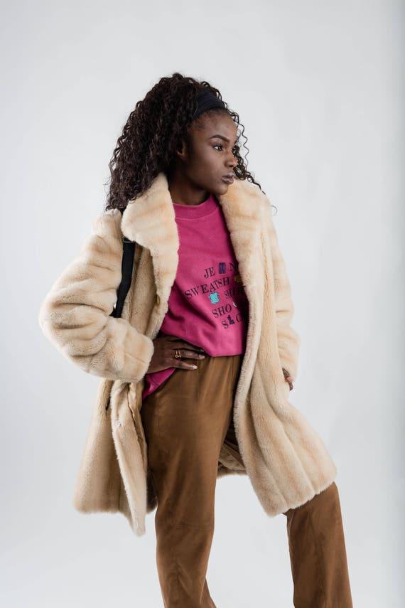 fur beige Men's coat beige coat fake retro 90s nineties Oversized Women's faux coat vegan vintage coat Size winter fur M brown fur X6qwtFEv