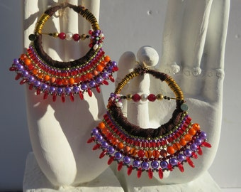 Ethnic, Boho-chic, spicy color, Paprika, woven by hand.