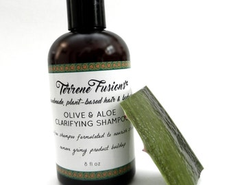 Clarifying, Scalp Stimulating All-Natural Shampoo w/Olive Oil and Aloe Vera. Vegan, Sulfate Free Shampoo & Cleanser. Natural Hair Cleanser