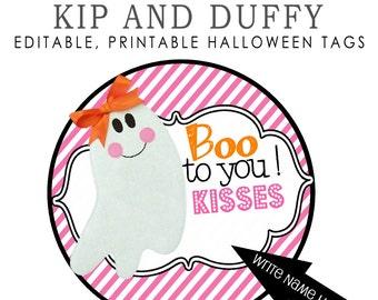 Editable, Printable Halloween Tags, Ghost tags