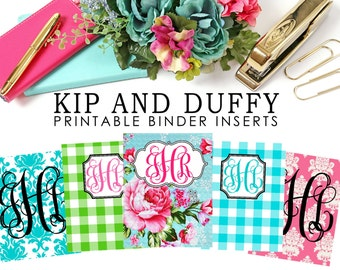 Personalized Printable Binder Inserts, Preppy Binder Inserts, 5 Binder Inserts Included, Binder Covers