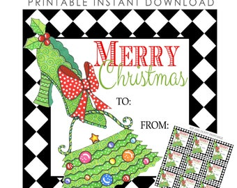 PRINTABLE Christmas Tags, 2.75 Inch Square Printable Preppy Christmas Tags