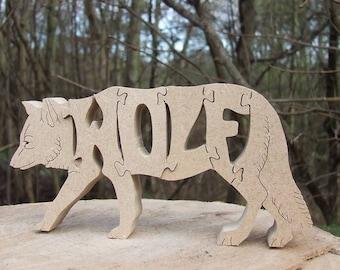 Wolf ornament, wolf gift, birthday gift, wooden wolf, wooden decor, wildlife gift, woodcut wolf, gift for wolf lover, wolf jigsaw,