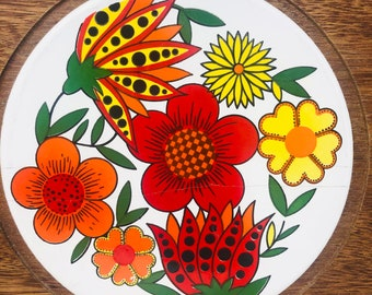 Vintage Wood Cheese Board with Floral Ceramic Centre