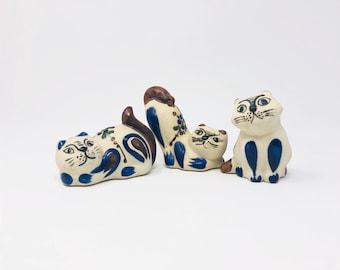Vintage Tonala Cats -Mexican Folk Art Pottery - Set of 3