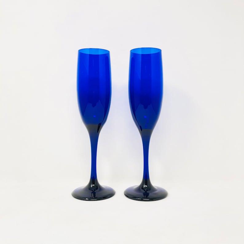 Vintage Champagne Flutes Set Of 2 Libbey Cobalt Blue Champagne Glasses