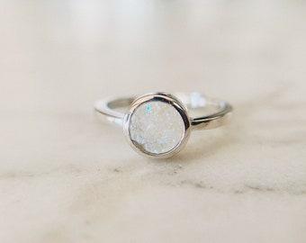 Sterling Silver Druzy Ring R-521 Druzy Ring Genuine Raw Crystal Ring gift ring, Druzy Agate ring Adjustable ring Blue Druzy Ring