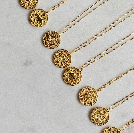 Coin Pendant Gold Medallion Zodiac Necklace Horoscope Astrology Necklace GoldChic Jewelry Personalized Zodiac Coin Necklace