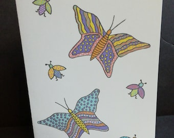 "Card set of butterflies, pastel colors, original drawing ""Les Créations ' Muz"""