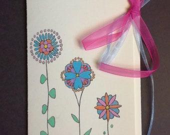 Original drawing gift envelope, flowers