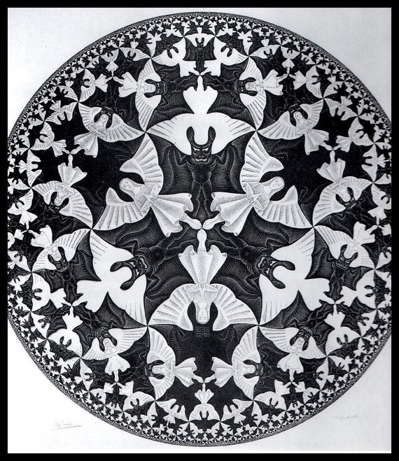 Mc Escher Print Escher Art Circle Limit Iv Heaven Hell Circa 1960 Vintage Print Book Plate Page Fantasy Illustration Ready To Frame