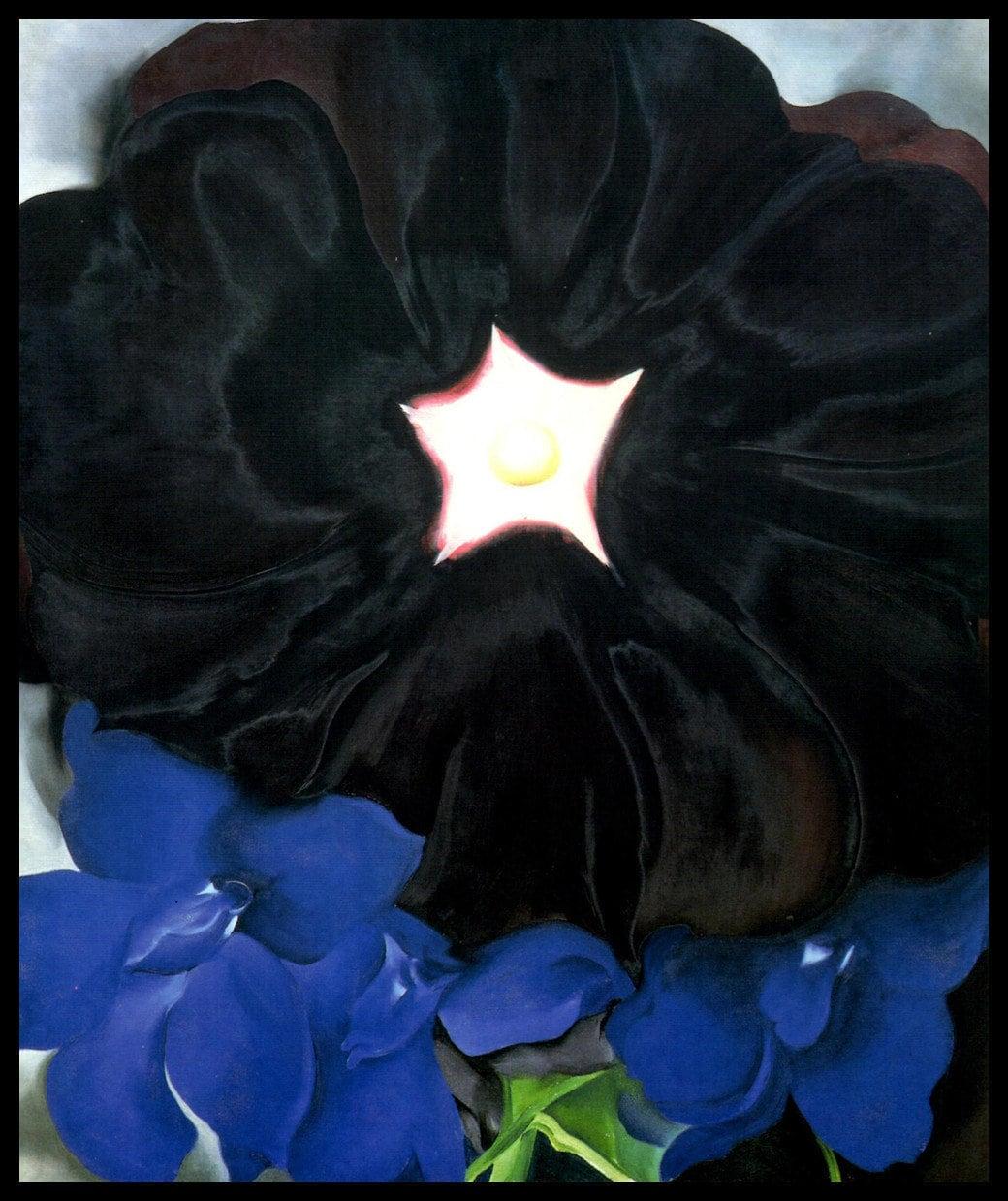 1929 Georgia Okeeffe Print Black Hollyhock Blue Etsy