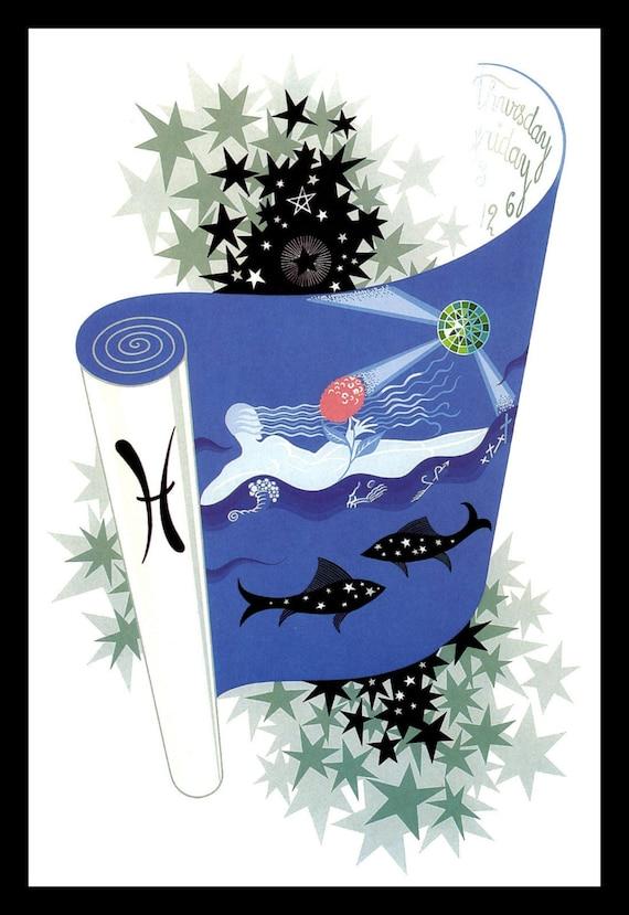 The Zodiac Pisces  by Erte  Paper Print Repro