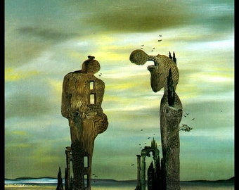 "Salvador Dali Print, ""Archeological Reminiscence Of Millet's Angelus"", Salvador, Dali, Surrealism, Dali Painting, Vintage Book Plate Print"