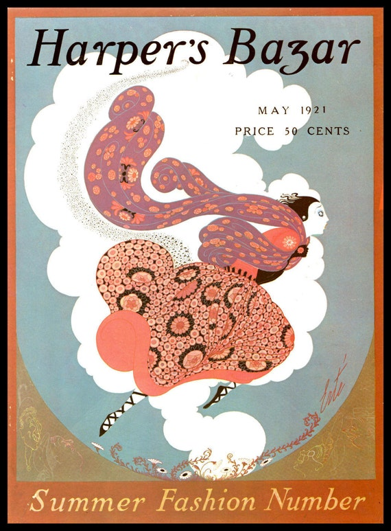 Erte Print Harpers Bazar Cover May 1921 Summer Fashions