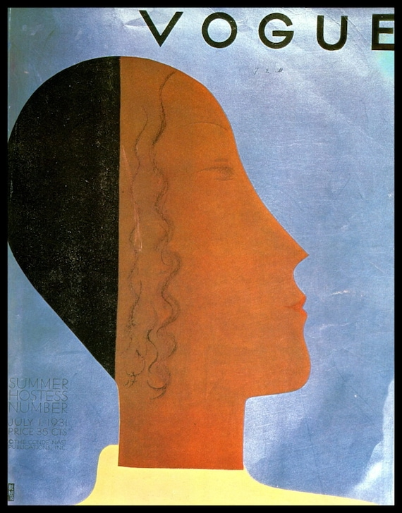 "VINTAGE VOGUE PRINT 1920 FASHION OLD  LADY MODEL ART DECO POSTER 24/"" PAINTING"