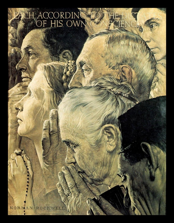 Image result for Freedom of Worship norman rockwell