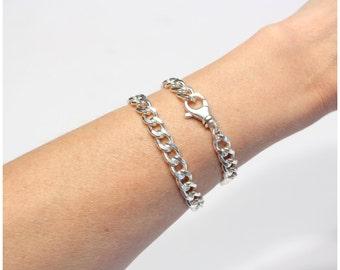 Sterling Silver Heavy Curb Chain Bracelet