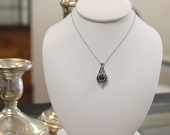Antique Star Sapphire Pendant Necklace, 14k White Gold