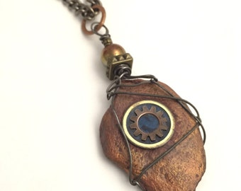 Artisan Necklace, Natural Stone,  Wire Wrapped,  Natural Stone Pendant, Earthy By Design Jewelry