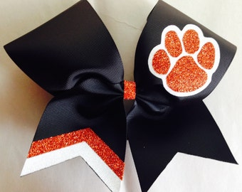 Cheer Double Glitter Mascot and Double Chevrons Bow