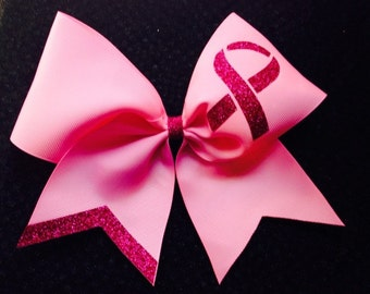 Breast Cancer awareness customizable cheer Bow - PINK