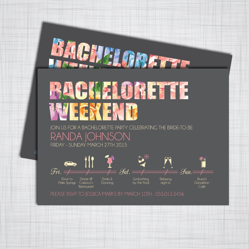 picture regarding Etsy Printable Invitations titled Bachelorette Occasion Weekend- Do it yourself Printable Invites with CUSTOMIZABLE Timeline!