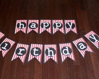 Pirate Birthday-Happy Birthday Banner-Red and White Banner-Party Decor-Personalized