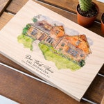 New Home Housewarming Gift Custom House Portrait Print On Wood Watercolor House Painting Print House Warming Gift House Drawing From Photo