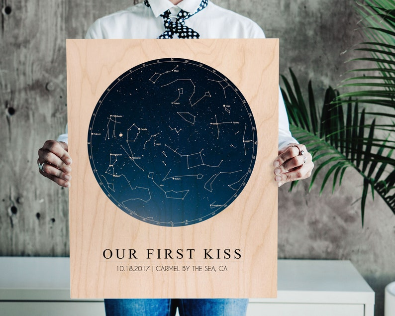 Anniversary Gifts For Boyfriend, Star Chart Print On Wood | Unique  Personalized Valentines Gift For Boyfriend Birthday Gift