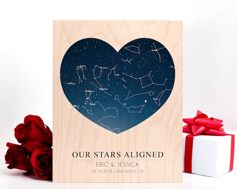 Valentines Day Gift For Boyfriend | Star Map Heart Night Sky Print, Mens  Valentines Day Gift For Girlfriend, Constellation Gift Custom Print