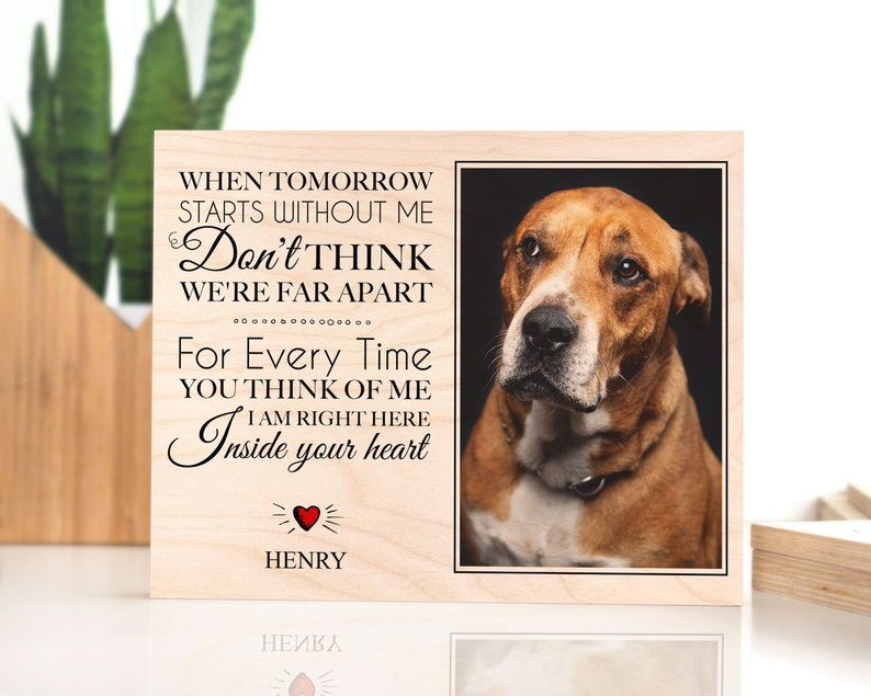 Pet Memorial Frame | Custom photo and name printed on a wooden plaque