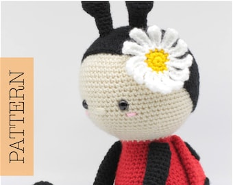 Crochet Amigurumi Ladybug PATTERN ONLY, Jadybug, pdf Stuffed Animal Toy Pattern