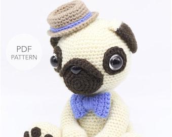 Crochet Amigurumi Pug Dog PATTERN ONLY 243de8512b