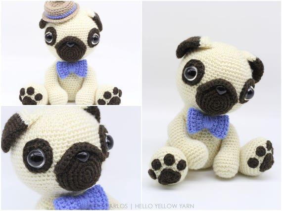 Amazon.com: Pug Stuffed Animal, Crochet Pug Dog, Amigurumi Pug ... | 427x570