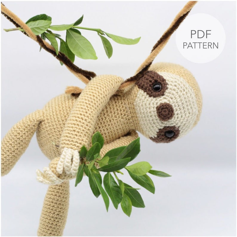 Crochet Amigurumi Sloth PATTERN ONLY Slow Mo pdf Stuffed image 0