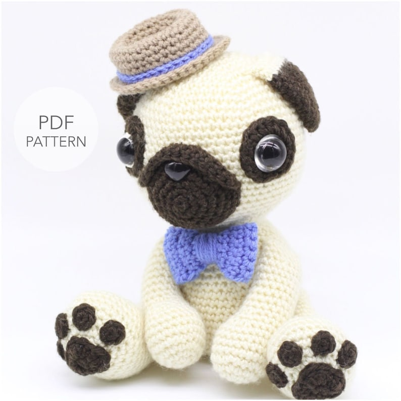 Crochet Amigurumi Pug Dog Pattern Only Pugster Pdf Stuffed Etsy