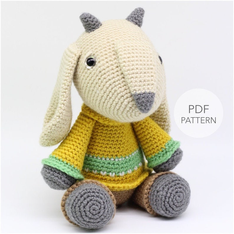 Crochet Amigurumi Goat PATTERN ONLY Gilbert pdf Stuffed image 0