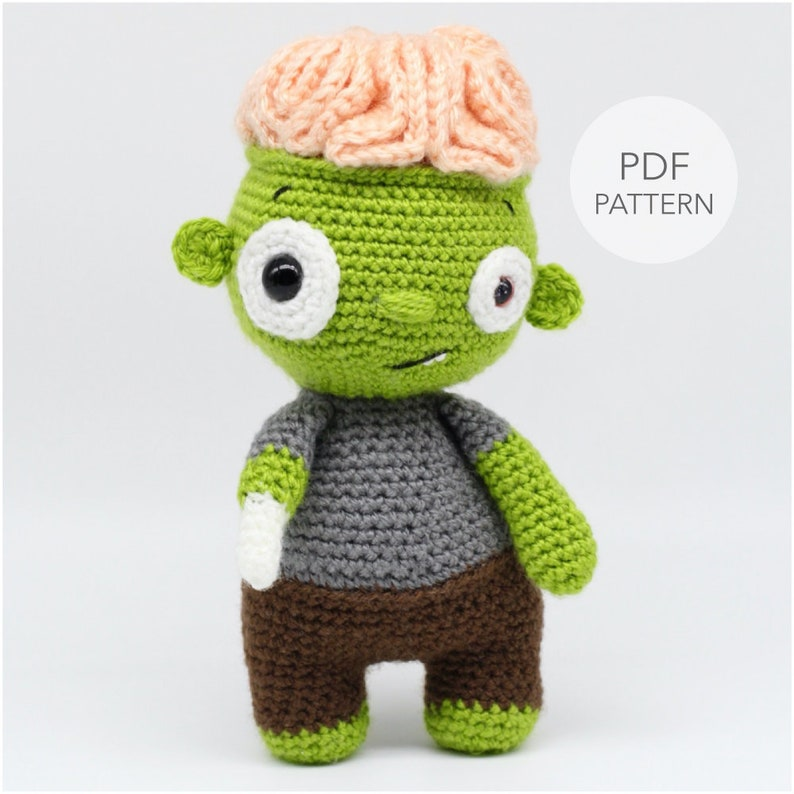 Crochet Amigurumi Zombie PATTERN ONLY Brian Brain pdf image 0