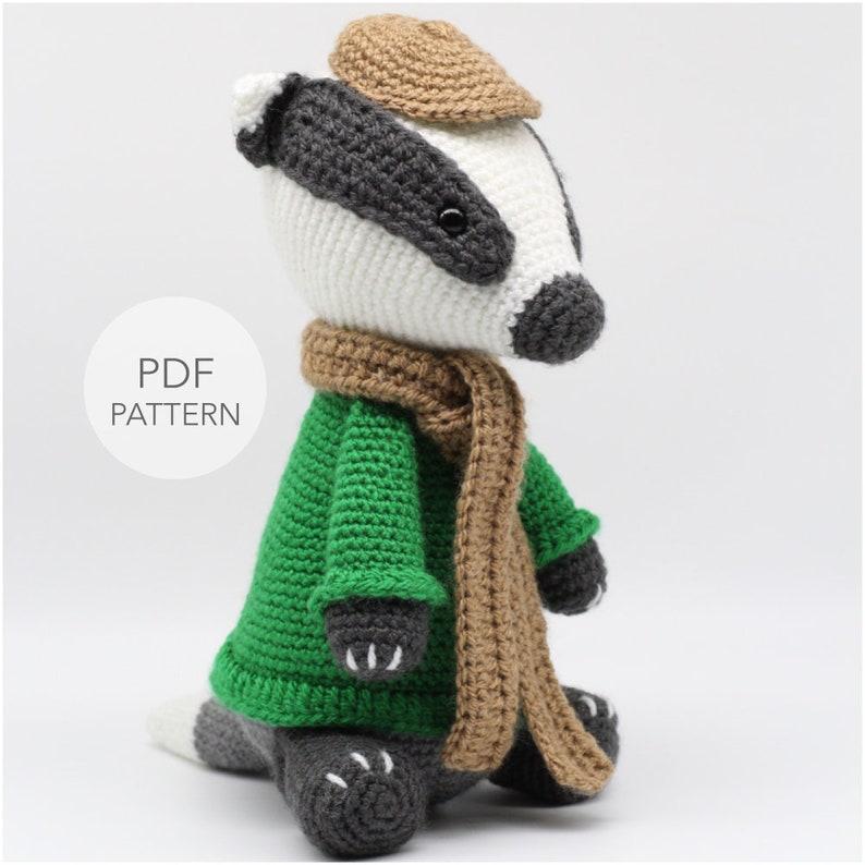 Crochet Amigurumi Badger PATTERN ONLY Mr Timothy pdf Stuffed image 0
